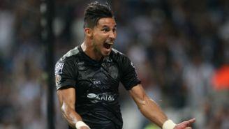 Jorge Benítez festeja un gol Rayados en 2017