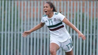 Maria Sanchez celebra un gol en Barranquilla 2018