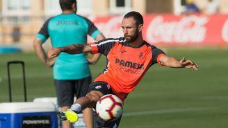 Miguel Layún en su primer entrenamiento con el Villarreal