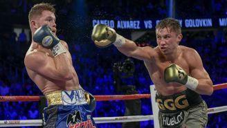 Álvarez y Golovkin durante una pelea