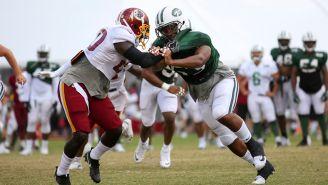 Acciones de la práctica conjunta entre Jets y Redskins