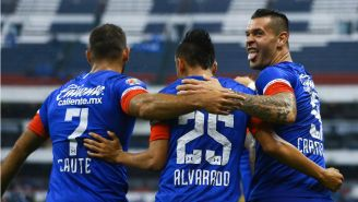 Caraglio celebra gol junto a Caute y Alvarado en duelo de Copa MX