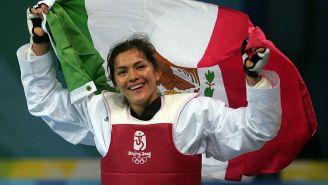 María del Rosario Espinoza tras ganar su medalla en 2008