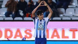 Gutiérrez celebra un gol con Pachuca