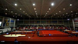 Competencia de gimnasia rítmica en la Arena Veracruz