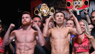 Canelo y Golovkin, durante el pesaje en su pasada pelea