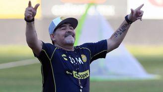 Maradona, durante un entrenamiento con Dorados