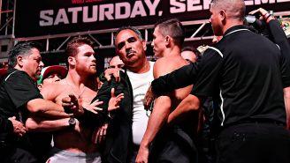 Canelo y Golovkin, durante el pesaje en Las Vegas
