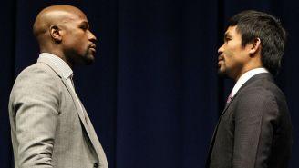 Floyd y Pacquiao cara a cara en la presentación de su pelea en 2015