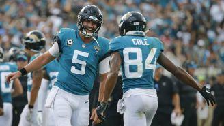 Blake Bortles y Cole celebran el touchdown frente a los Pats
