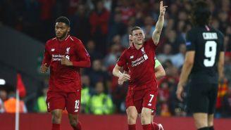 Milner festeja el gol que marcó contra el PSG
