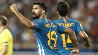 Diego Costa festeja su gol contra Mónaco en la Champions