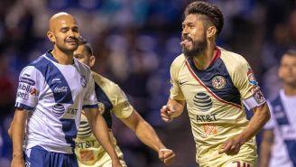 Oribe Peralta festeja gol contra Puebla