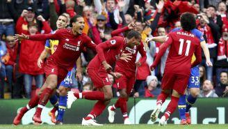 Joel Matip festeja su gol contra el Southampton