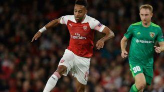 Aubameyang durante partido del Arsenal