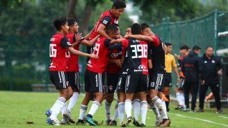 Atlas Sub15 en festejo de gol durante el partido de la J8