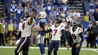 Ka'imi Fairbairn festeja tras darle la victoria a Texans