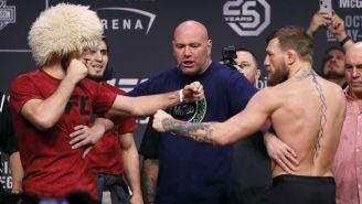 Nurmagomedov y McGregor, en la ceremonia de pesaje de UFC229