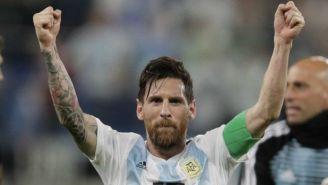 Messi festeja con Argentina
