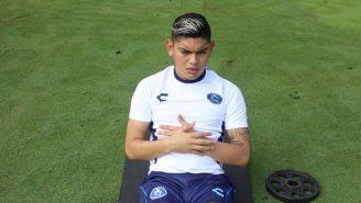 Jonathan Espericueta en un entrenamiento con Puebla