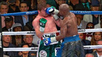 Floyd Mayweather en la pelea con Canelo Álvarez