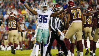 Kavon Frazier celebra un intercambio de balón contra Redskins