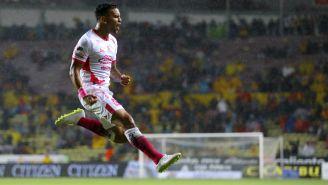 Sebastián Vegas festeja gol contra Puebla en la J13 del A2018