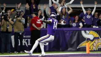 Diggs celebra el touchdown de la victoria frente a Saints