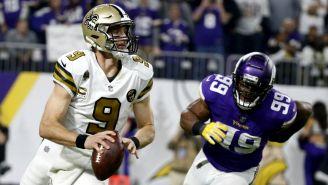 Drew Brees, a punto de lazar en el duelo contra Vikings