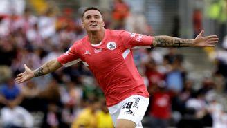 Leonardo Ramos festeja gol contra Chivas en la J13 del A2018
