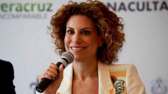 Karime Macías, durante una conferencia