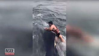 Momento en que el hombre salta sobre la ballena