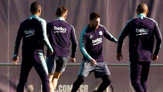Messi, durante entrenamiento del Barcelona