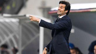 Solari durante un partido del Real Madrid