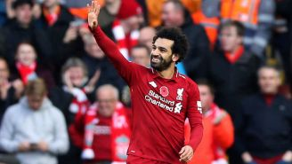 Salah celebra su anotación contra Fulham