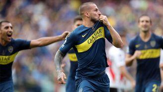 Benedetto celebra su anotación en la Ida frente a River Plate