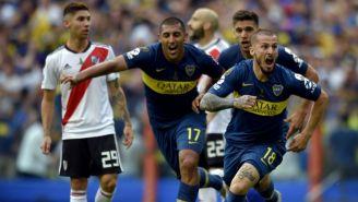 Benedetto festeja en la Final de Ida de la Copa Libertadores