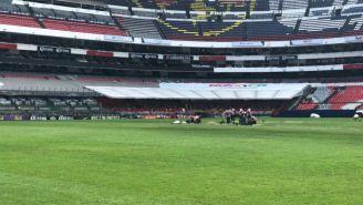 La cancha del Estadio Azteca en estos momentos