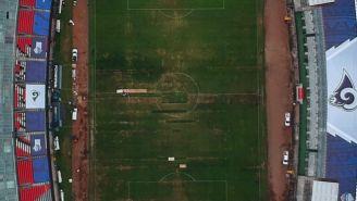 La cancha del Estadio Azteca vista desde arriba