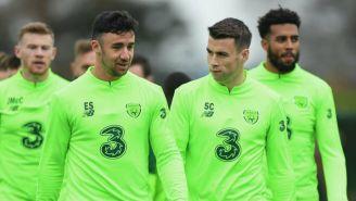 Jugadores de Irlanda durante práctica del equipo