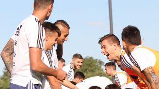 Jugadores de Argentina durante un entrenamiento