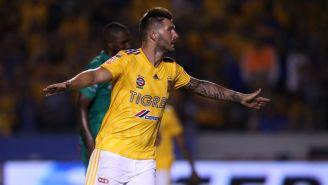 Gignac festeja gol con Tigres en el A2018