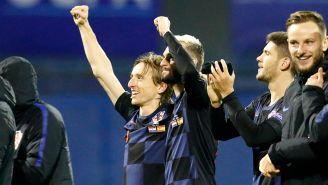 Modric festeja victoria de Croacia contra España