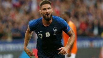Giroud, durante un partido de Francia
