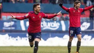 Kike Barja celebra gol con el Osasuna