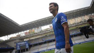Alanís, durante su presentación con el Real Oviedo