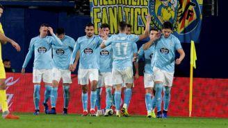 Jugadores del Celta festejan un gol contra el Villarreal