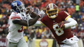 Josh Johnson durante el juego entre Redskins y Giants