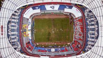 La cancha del Estadio Azteca previo al juego Chiefs vs Rams