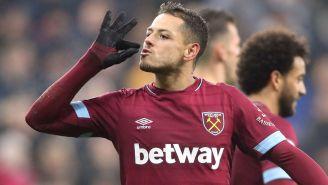Hernández celebra un anotación con el West Ham